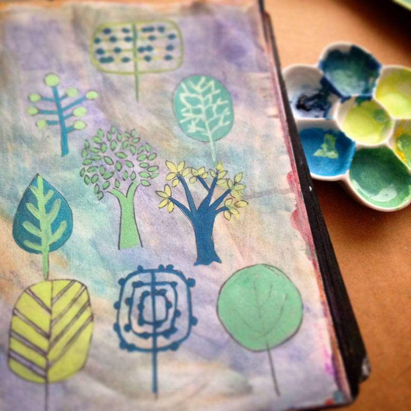 trees art journalling joanne seale