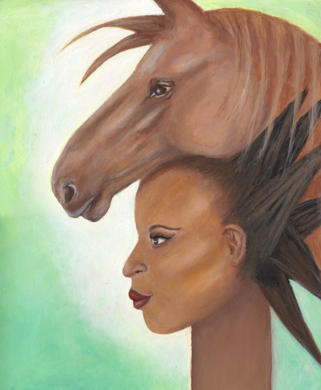 ejina with horse wild and free painting joanne seale