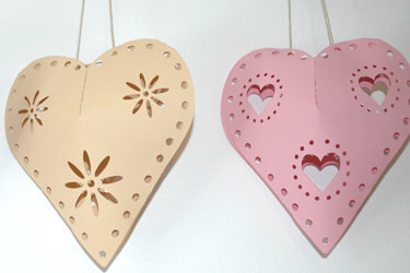 hanging hearts paper cutting template 3d svg