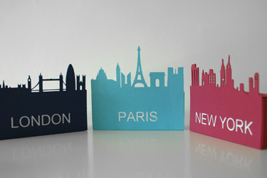 skyline boxes paper cutting template 3d svg